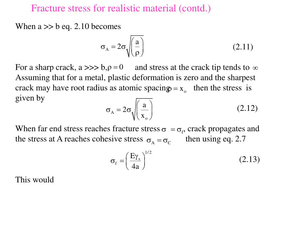 Fracture stress for realistic material (contd.)
