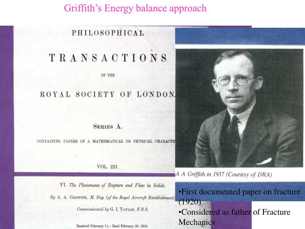 Griffith's Energy balance approach