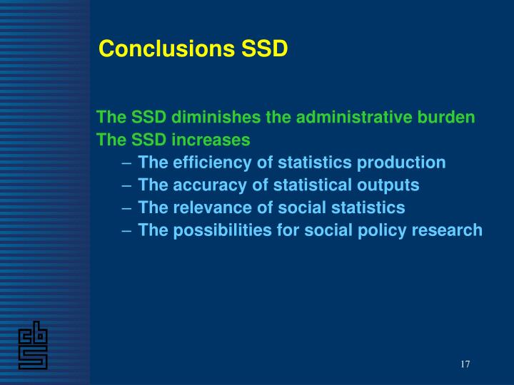 Conclusions SSD