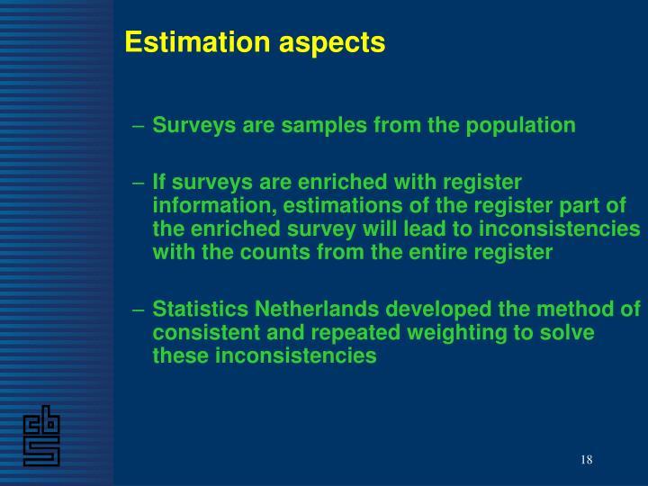 Estimation aspects