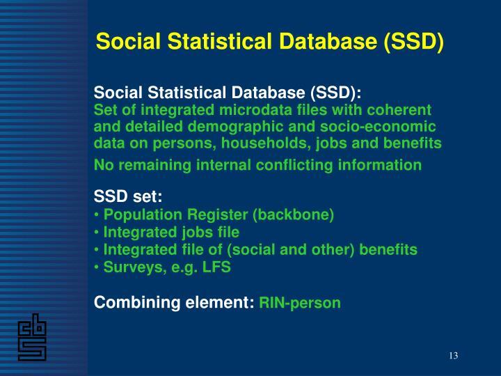 Social Statistical Database (SSD)