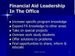 financial aid leadership in the office