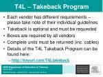 t4l takeback program