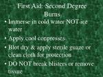 first aid second degree burns
