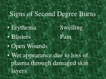 signs of second degree burns