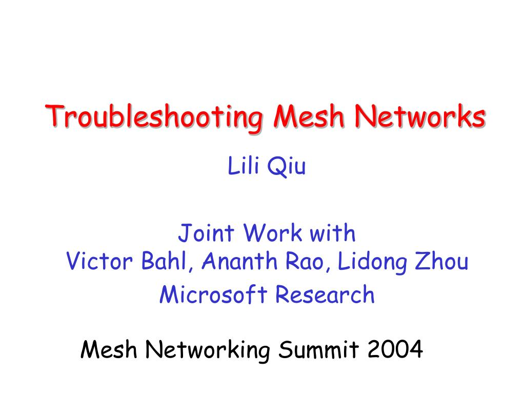 troubleshooting mesh networks l.