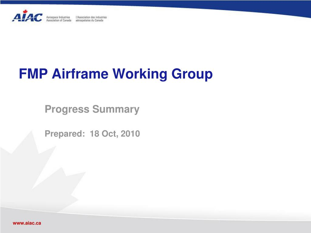 FMP Airframe Working Group