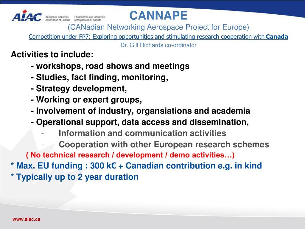 Activities to include: