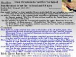 iran threatens to set fire to israel