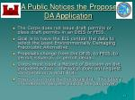 da public notices the proposed da application