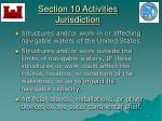 section 10 activities jurisdiction