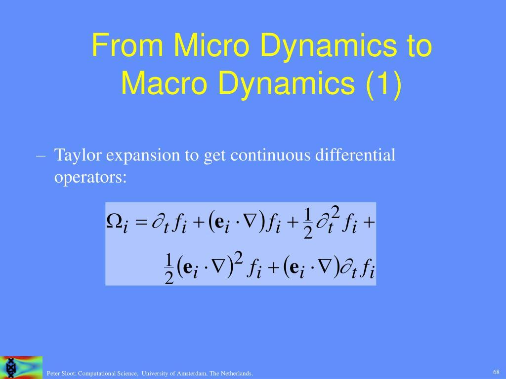 From Micro Dynamics to Macro Dynamics (1)