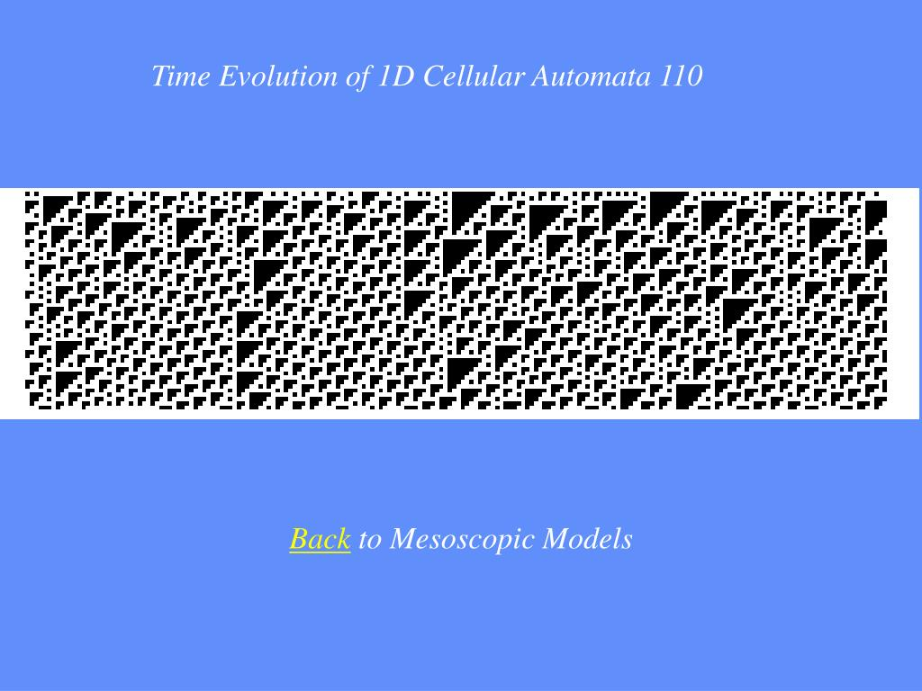 Time Evolution of 1D Cellular Automata 110