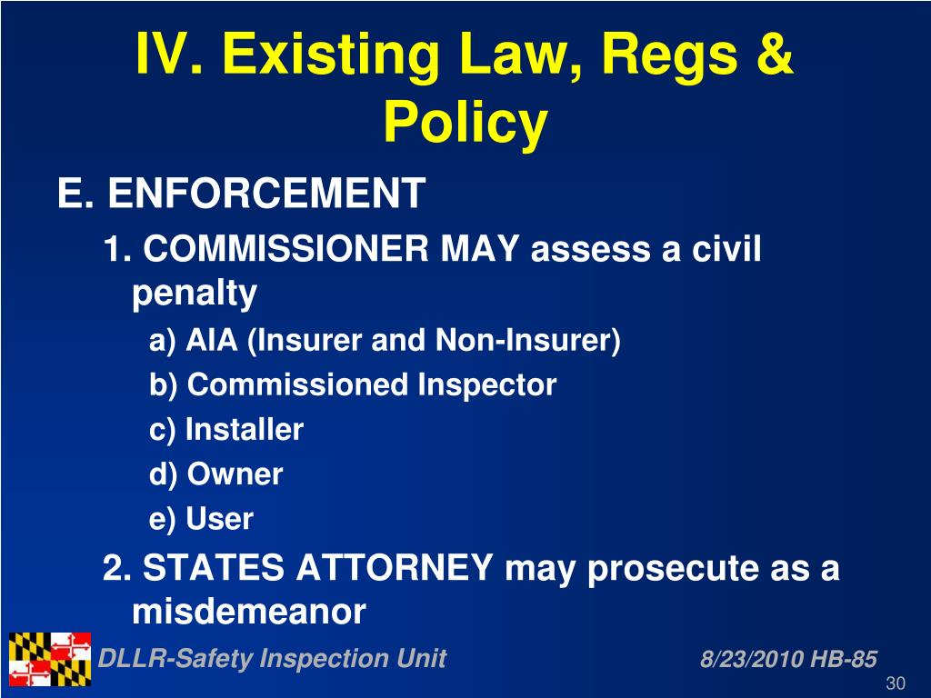 IV. Existing Law, Regs & Policy