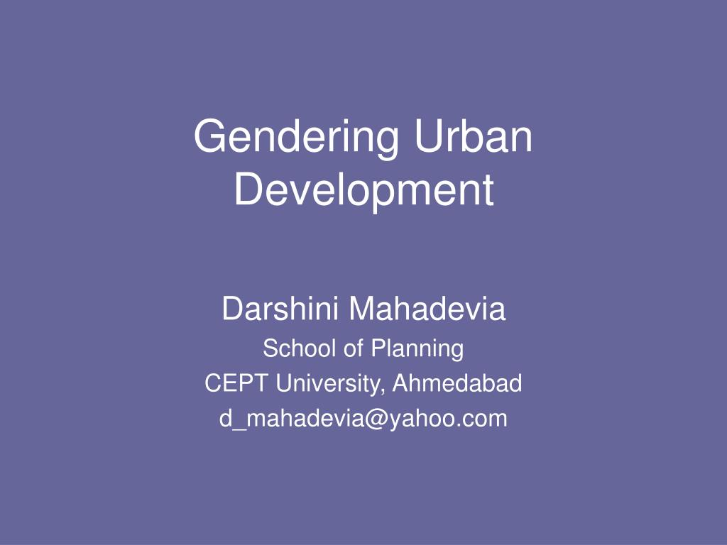 gendering urban development l.
