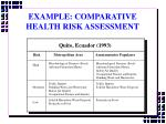 example comparative health risk assessment