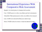 international experience with comparative risk assessment