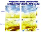 projections mean precipitation 2050 1990 with the mpi model