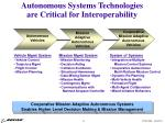 autonomous systems technologies are critical for interoperability