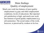 main findings quality of employment