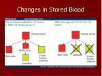 changes in stored blood