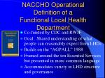 naccho operational definition of a functional local health department
