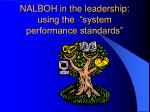 nalboh in the leadership using the system performance standards