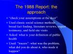 the 1988 report the approach