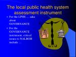 the local public health system assessment instrument75