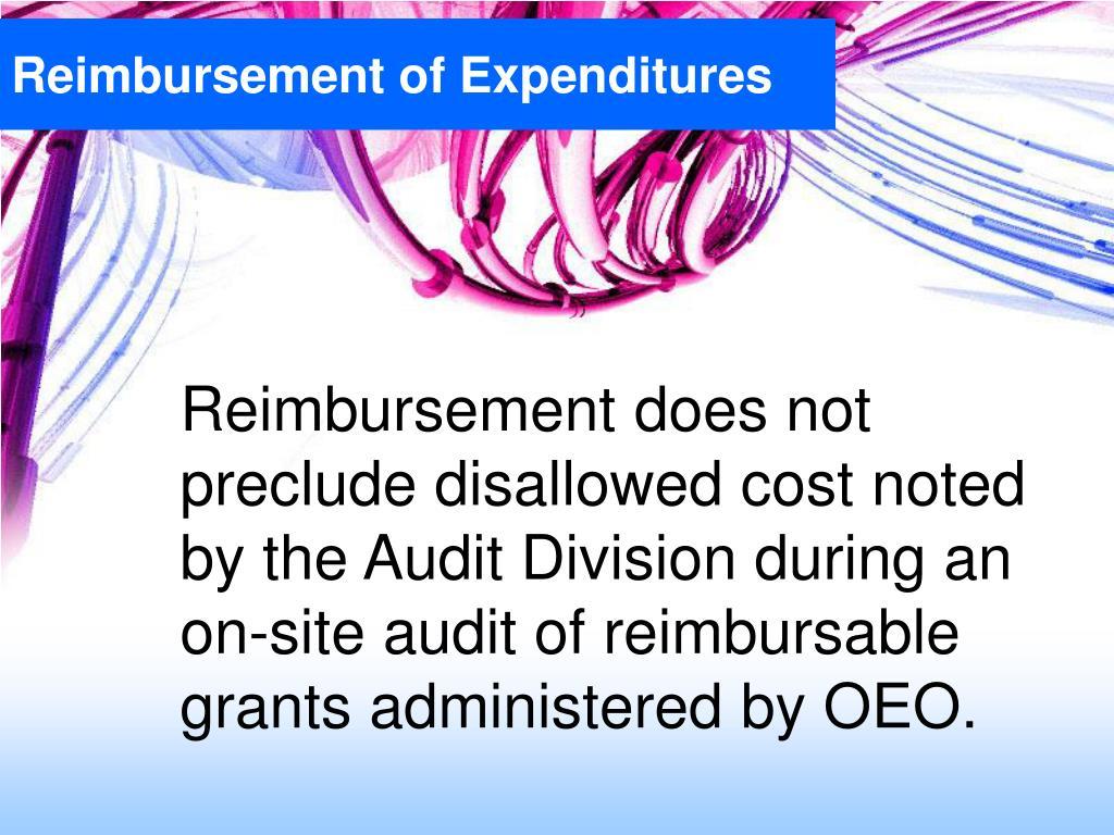 Reimbursement of Expenditures