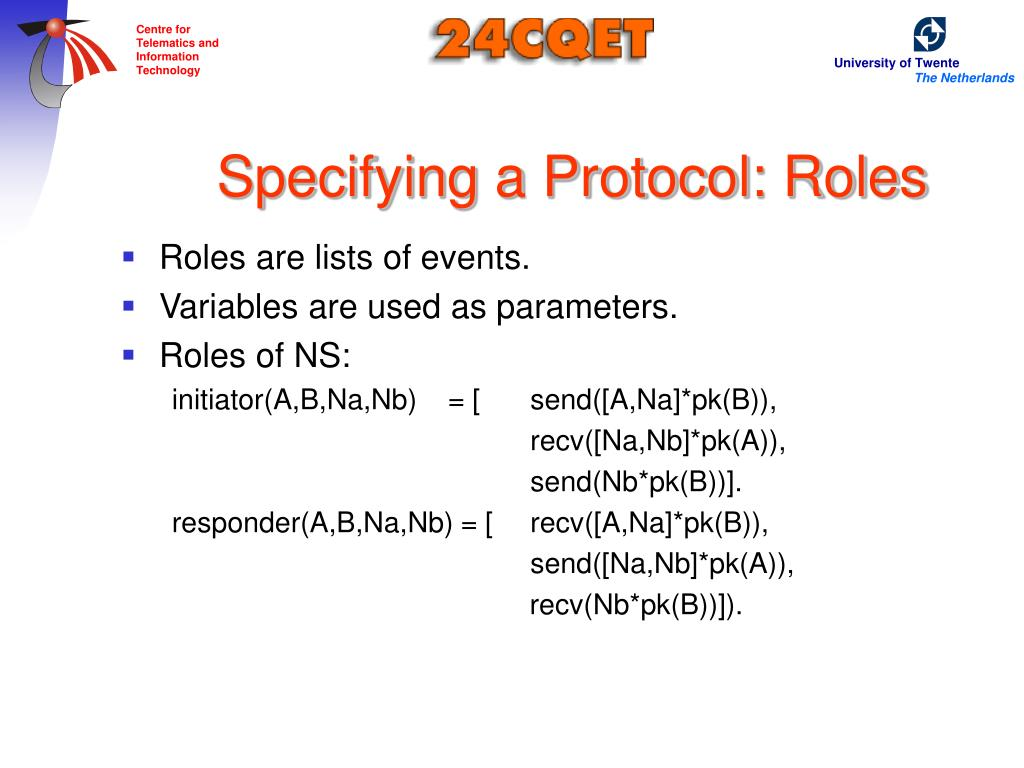 Specifying a Protocol: Roles