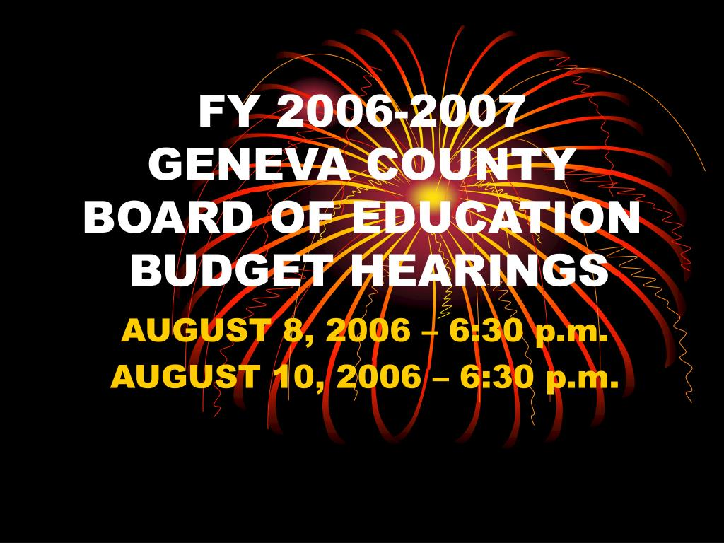 fy 2006 2007 geneva county board of education budget hearings l.