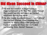 did nixon succeed in china