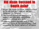 did nixon succeed in south asia