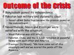 outcome of the crisis