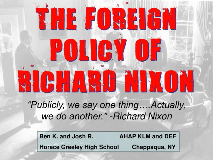 the foreign policy of richard nixon n.