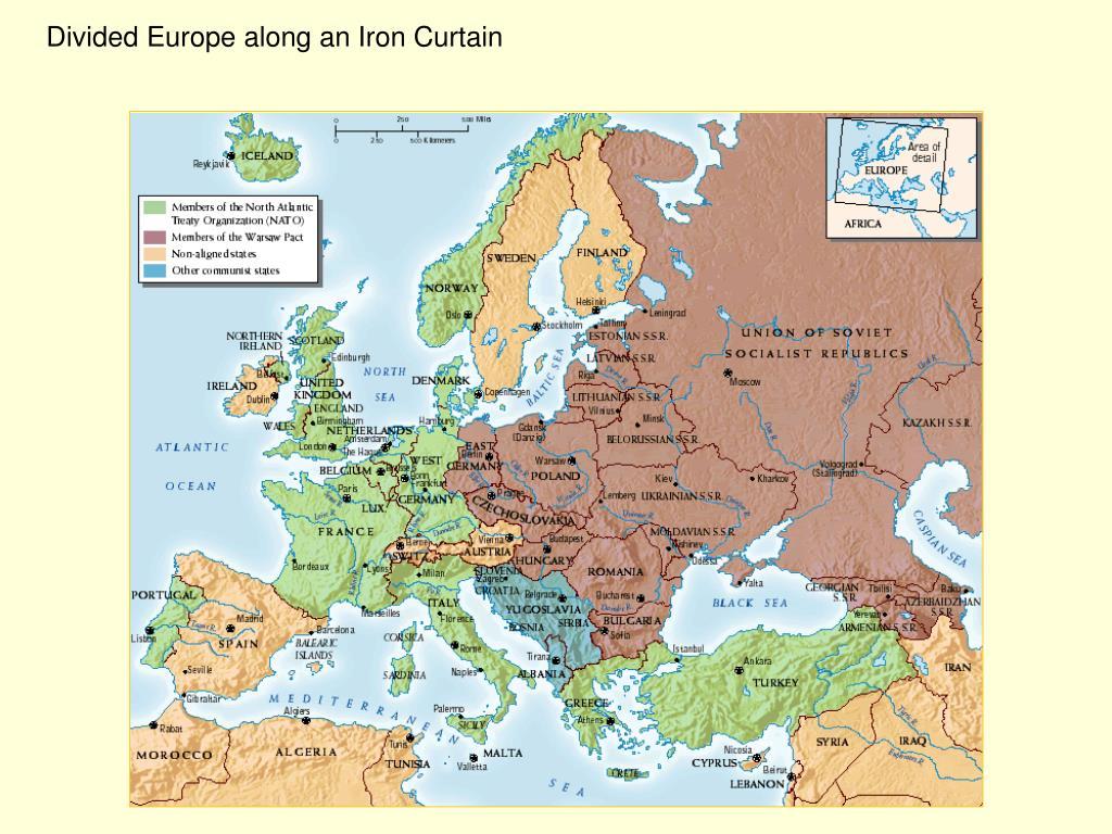 Divided Europe along an Iron Curtain