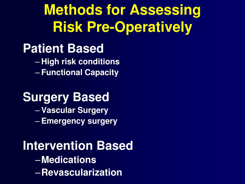 Methods for Assessing Risk Pre-Operatively
