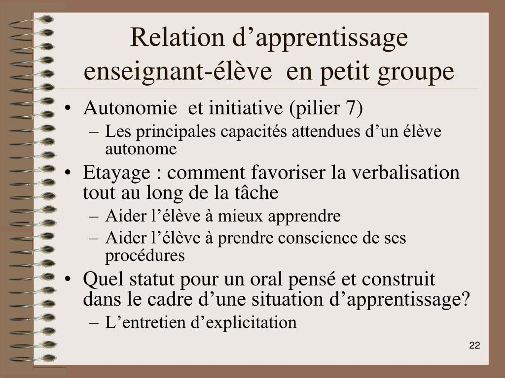 Relation d'apprentissage