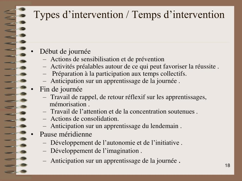 Types d'intervention / Temps d'intervention
