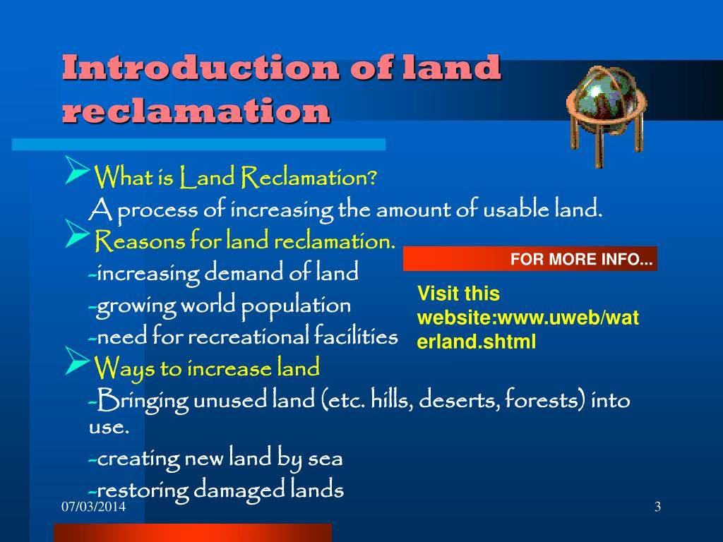 Introduction of land reclamation
