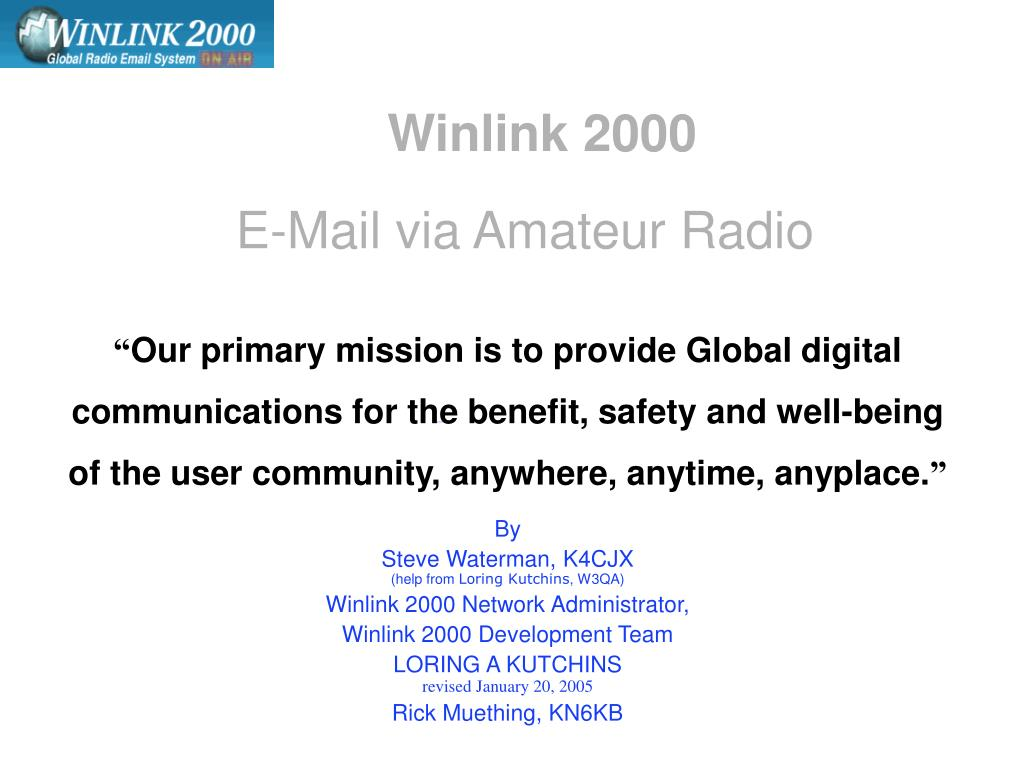 winlink 2000 e mail via amateur radio l.