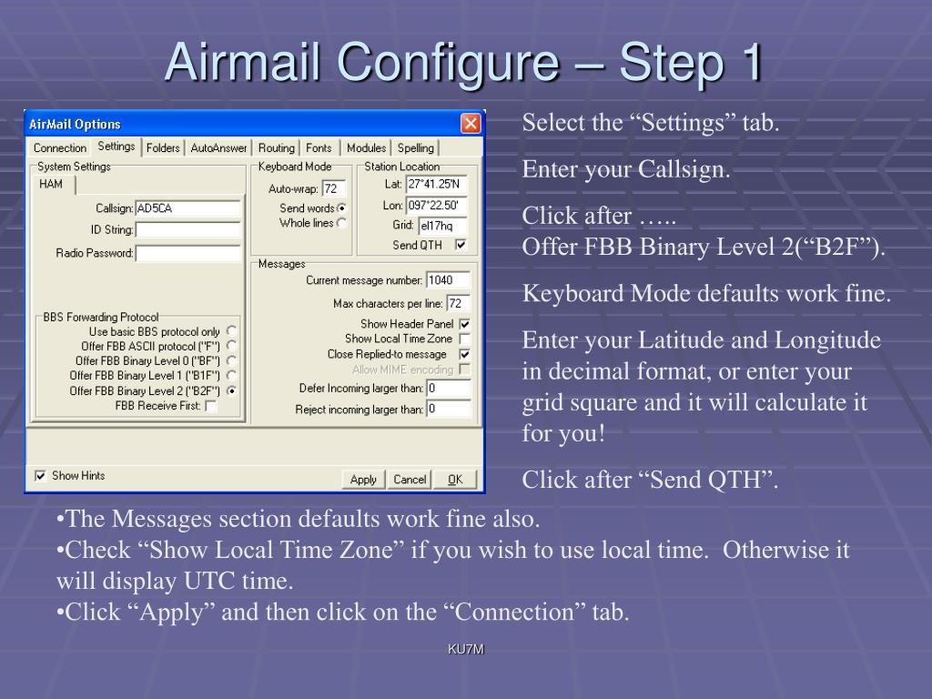 Airmail Configure – Step 1