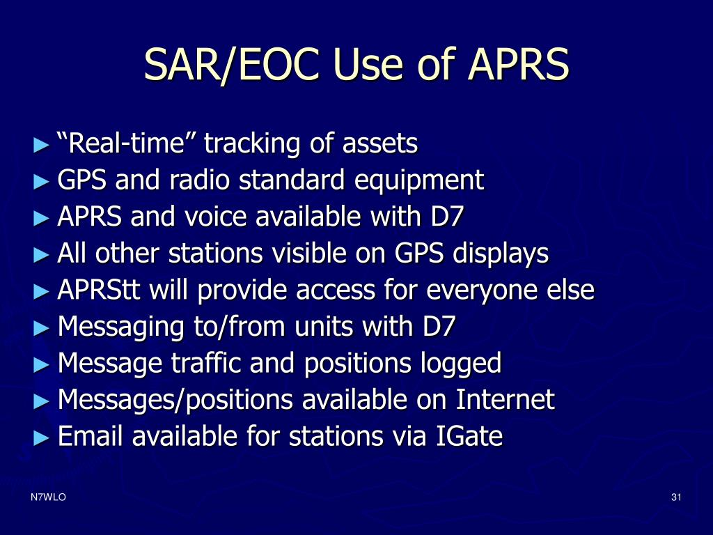 SAR/EOC Use of APRS