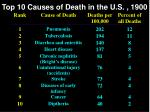 top 10 causes of death in the u s 1900