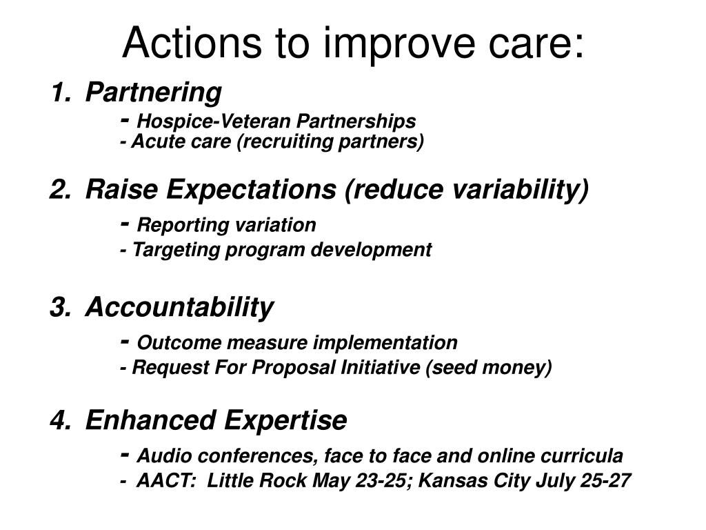 Actions to improve care: