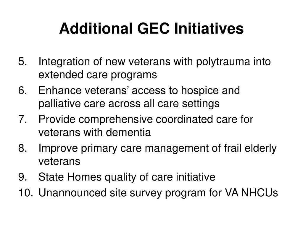 Additional GEC Initiatives