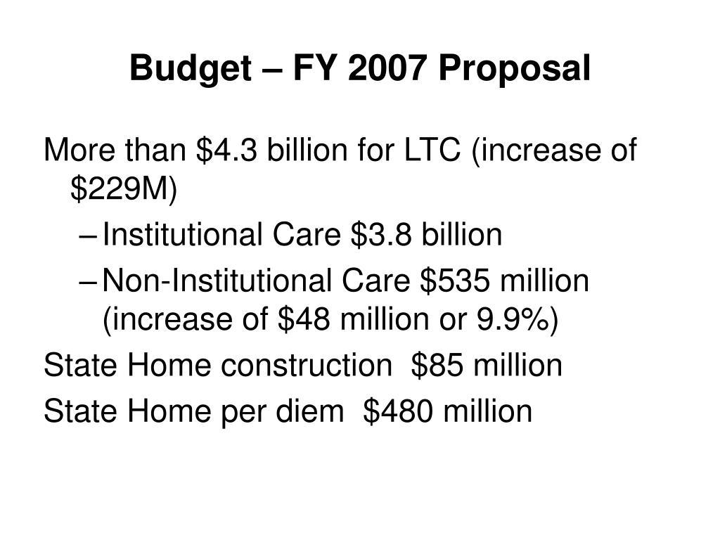 Budget – FY 2007 Proposal