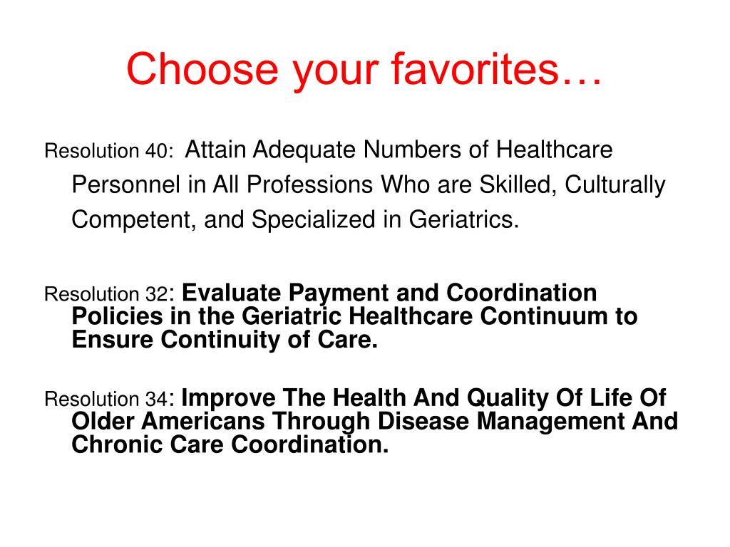 Choose your favorites…