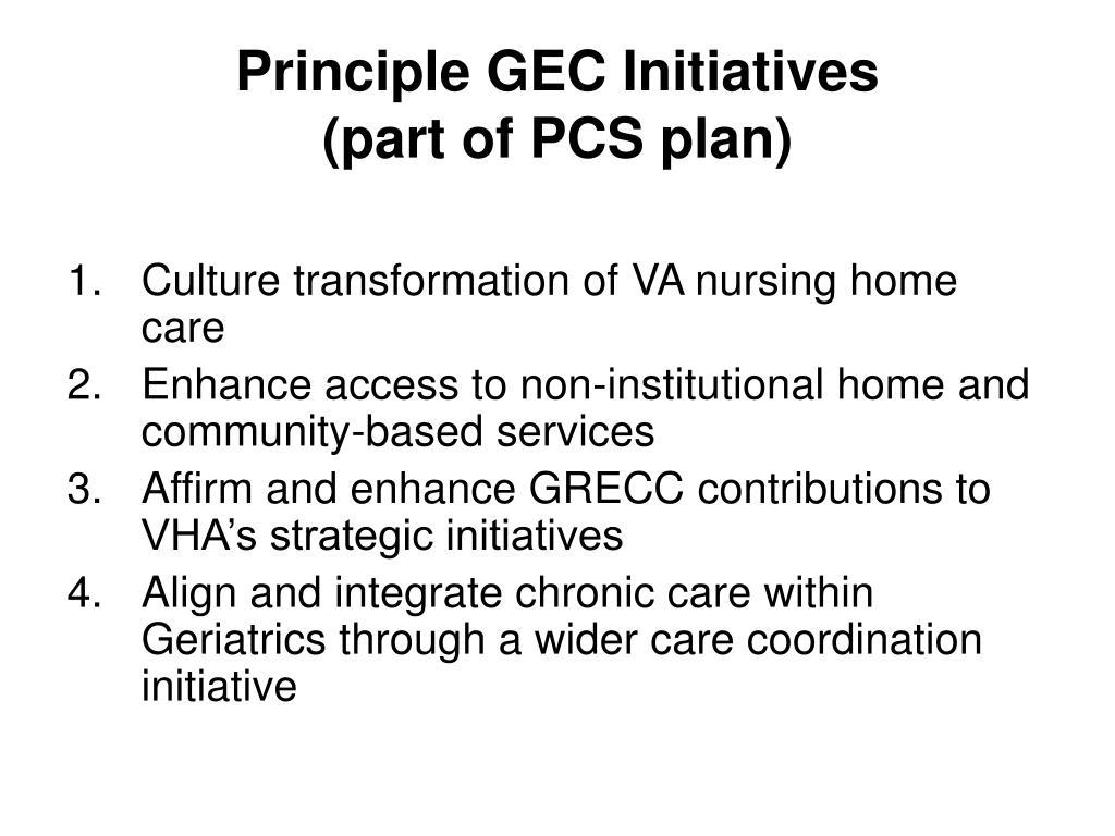 Principle GEC Initiatives